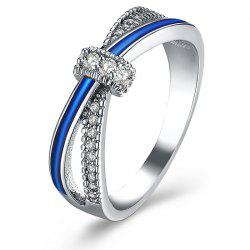 Sparkly Rhinestoned Two Tone Ring - SILVER 9