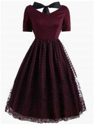 Vintage Bowknot Floral Plaid Lace Dress -