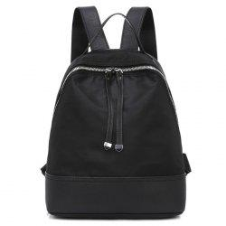 Zippers Nylon Faux Leather Insert Backpack - BLACK