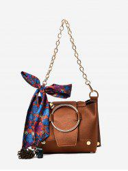 Scarf Metal Ring Shoulder Bag - BROWN