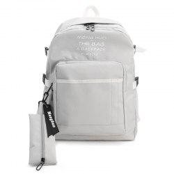 Nylon Color Block 2 Pieces Backpack Set - GRAY