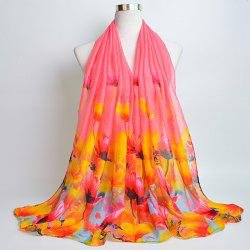 Flower Painting Print Voile Wrap Scarf -