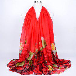 Flower Leaf Print Voile Wrap Scarf - RED
