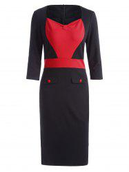Sweetheart Neck Two Tone Formal Bodycon Dress - Rouge S