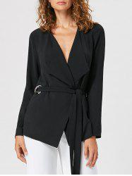 Grommet Detail Waterfall Blazer - BLACK L