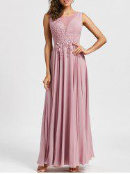 Lace Up Mesh Insert Floral Applique Evening Dress -