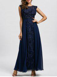 Floral Applique Sleeveless Maxi Evening Dress -