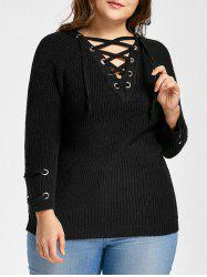 Pull à Lacets Manches Raglan Grande Taille -