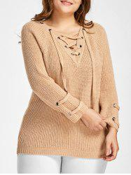 Plus Size Raglan Sleeve Lace Up Sweater -