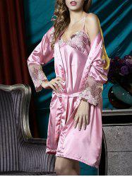 Satin Embroidered Slip PJ Dress with Robe - CARNATION L