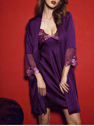 Satin Slip PJ Dress with Wrap Robe - Pourpre L