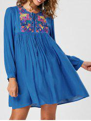 Embroidered Long Sleeve Babydoll Dress - BLUE XL