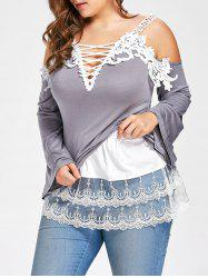 Plus Size Layered Sheer Lace Extender Skirt - WHITE 2XL