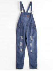 Plus Size Ripped Denim Overalls -