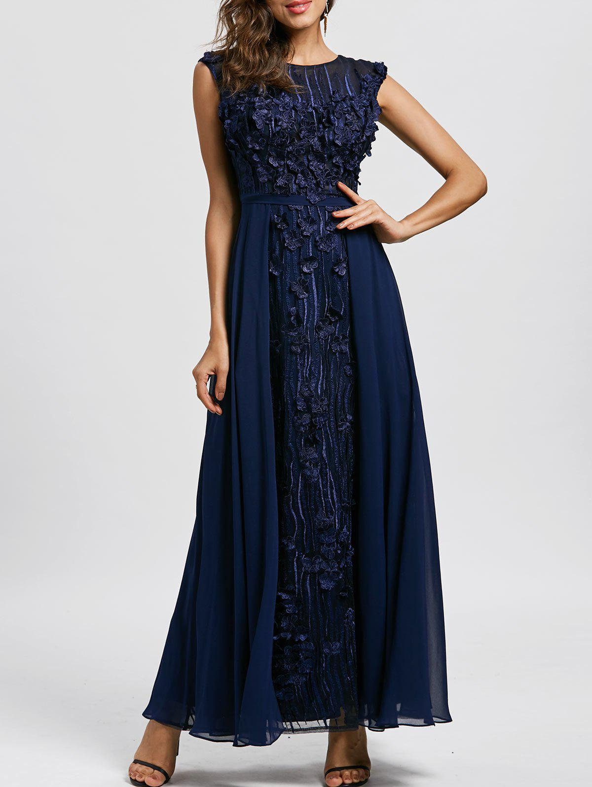 Hot Floral Applique Sleeveless Maxi Evening Dress