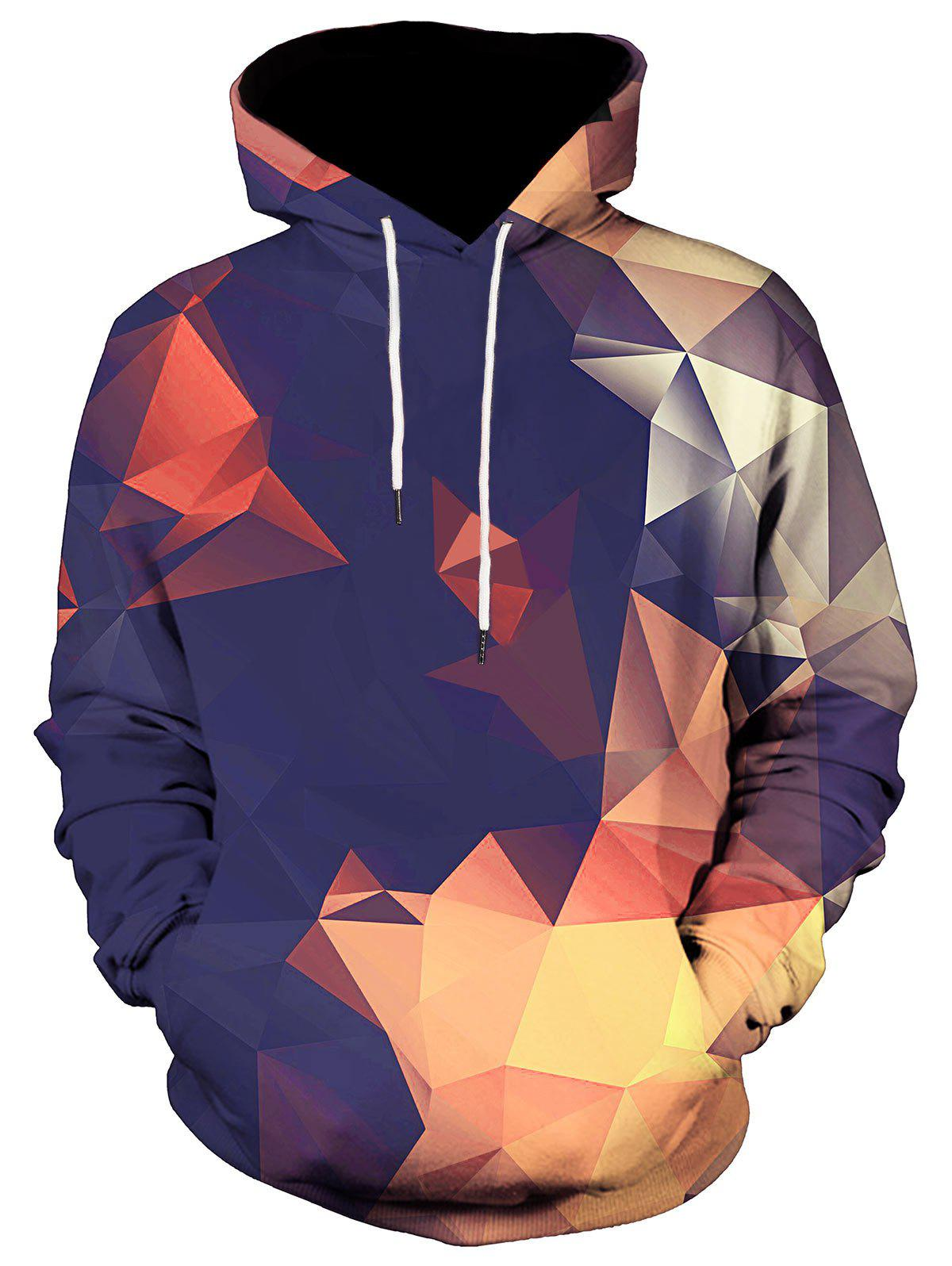 Kangaroo Pocket Geometric Pullover HoodieMEN<br><br>Size: 3XL; Color: COLORMIX; Material: Polyester,Spandex; Shirt Length: Regular; Sleeve Length: Full; Style: Casual; Weight: 0.5200kg; Package Contents: 1 x Hoodie;
