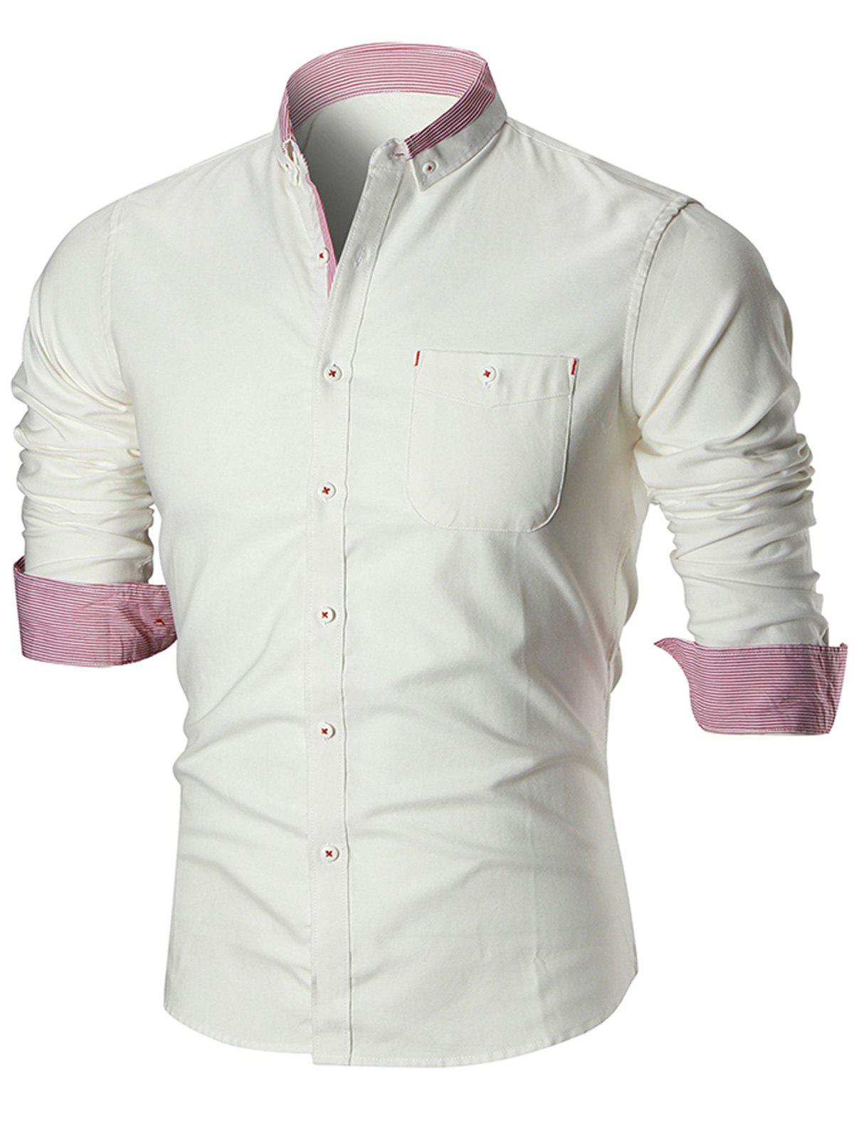 Long Sleeve Chest Pocket Button-down ShirtMEN<br><br>Size: L; Color: WHITE; Shirts Type: Casual Shirts; Material: Cotton,Polyester; Sleeve Length: Full; Collar: Turn-down Collar; Pattern Type: Striped; Weight: 0.3900kg; Package Contents: 1 x Shirt;