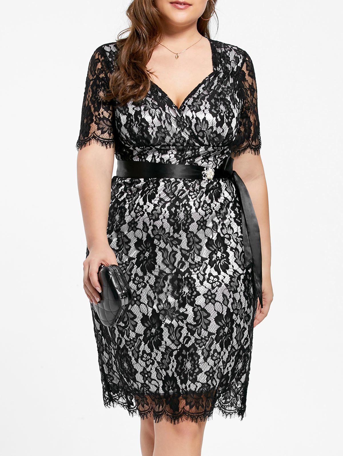 Formal Plus Size V Neck Lace Sheath DressWOMEN<br><br>Size: 5XL; Color: BLACK WHITE; Style: Cute; Material: Polyester; Silhouette: Sheath; Dresses Length: Knee-Length; Neckline: Sweetheart Neck; Sleeve Length: Short Sleeves; Embellishment: Lace; Pattern Type: Others; With Belt: Yes; Season: Fall,Spring; Weight: 0.3000kg; Package Contents: 1 x Dress  1 x Belt;