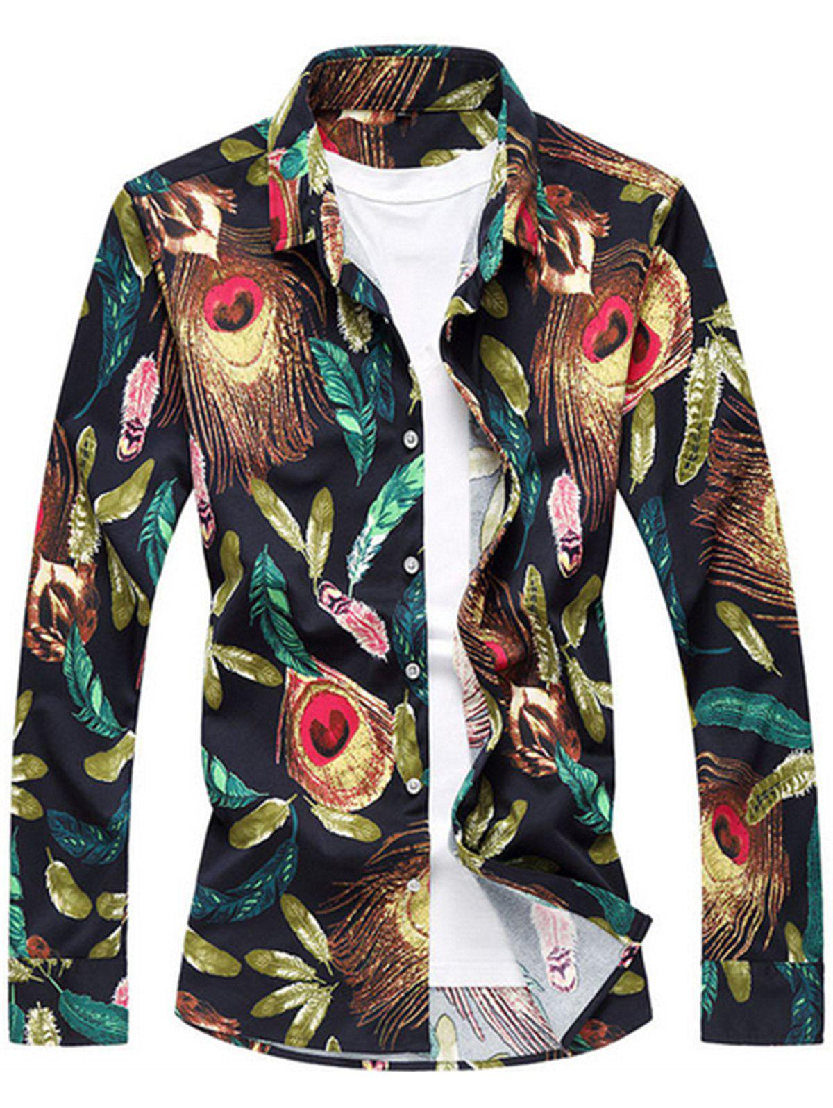 Sale Feather Print Long Sleeve Plus Size Shirt