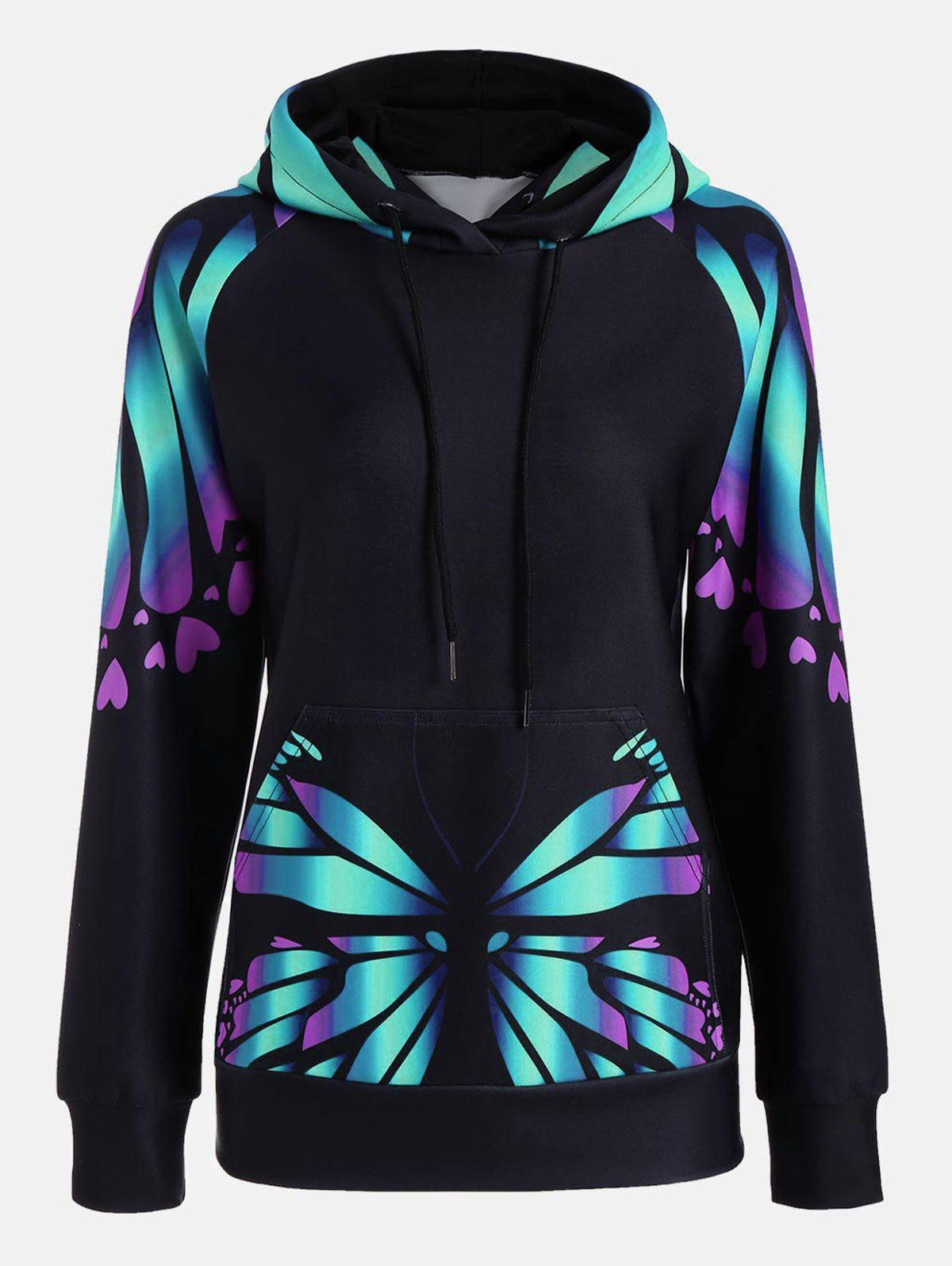 Butterfly Print Raglan Sleeve Kangaroo HoodieWOMEN<br><br>Size: XL; Color: GREEN; Material: Polyester; Shirt Length: Regular; Sleeve Length: Full; Style: Fashion; Pattern Style: Insect,Print; Elasticity: Elastic; Season: Fall,Spring; Weight: 0.4100kg; Package Contents: 1 x Hoodie;