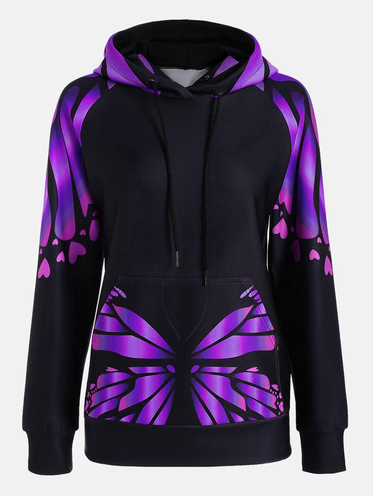 Butterfly Print Raglan Sleeve Kangaroo HoodieWOMEN<br><br>Size: M; Color: PURPLE; Material: Polyester; Shirt Length: Regular; Sleeve Length: Full; Style: Fashion; Pattern Style: Insect,Print; Elasticity: Elastic; Season: Fall,Spring; Weight: 0.4100kg; Package Contents: 1 x Hoodie;