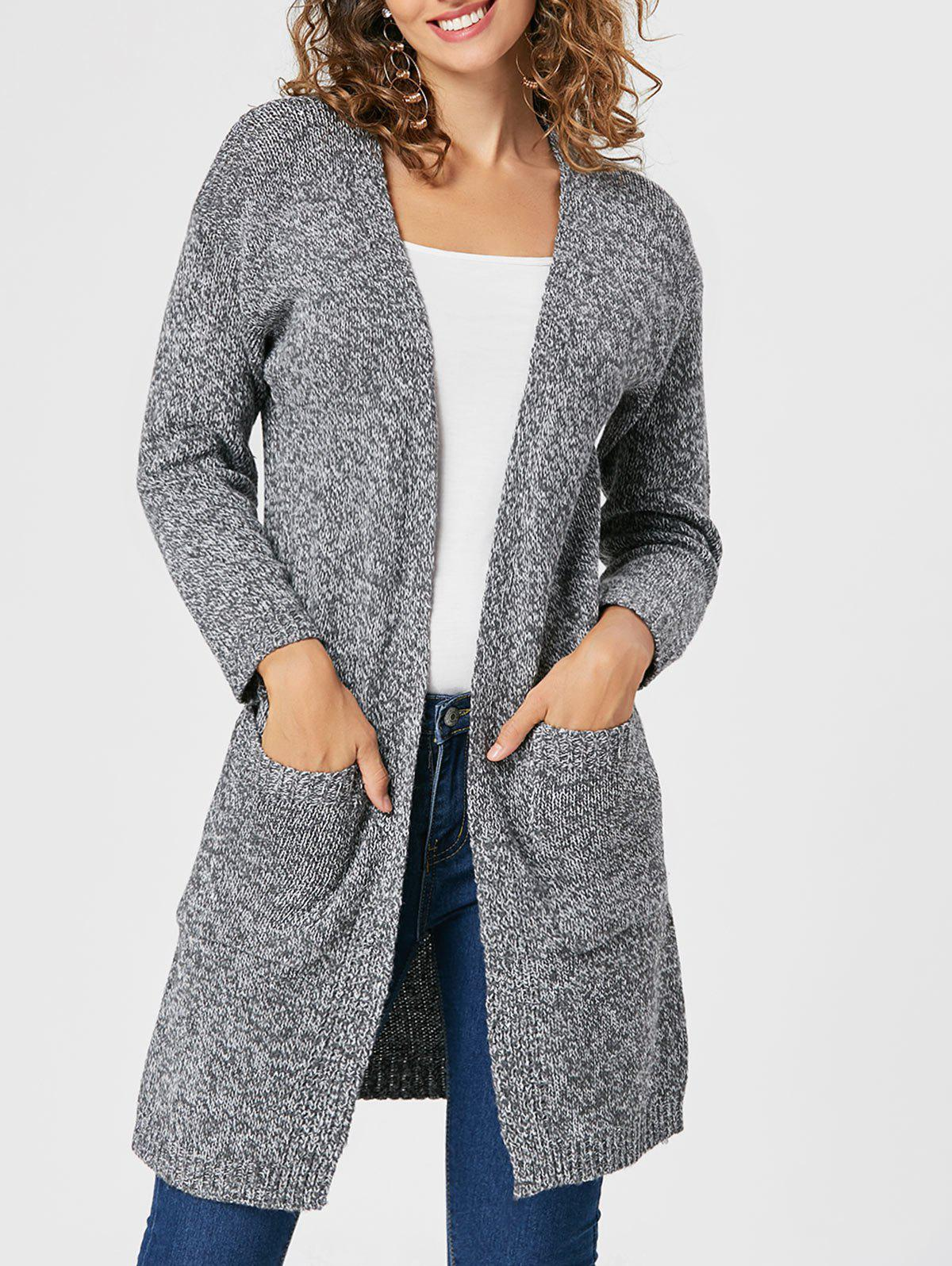 Pockets Knitted Open Front CardiganWOMEN<br><br>Size: ONE SIZE; Color: DEEP GRAY; Type: Pullovers; Material: Polyester; Sleeve Length: Full; Collar: Collarless; Style: Fashion; Pattern Type: Solid; Season: Fall,Spring; Weight: 0.6500kg; Package Contents: 1 x Cardigan;