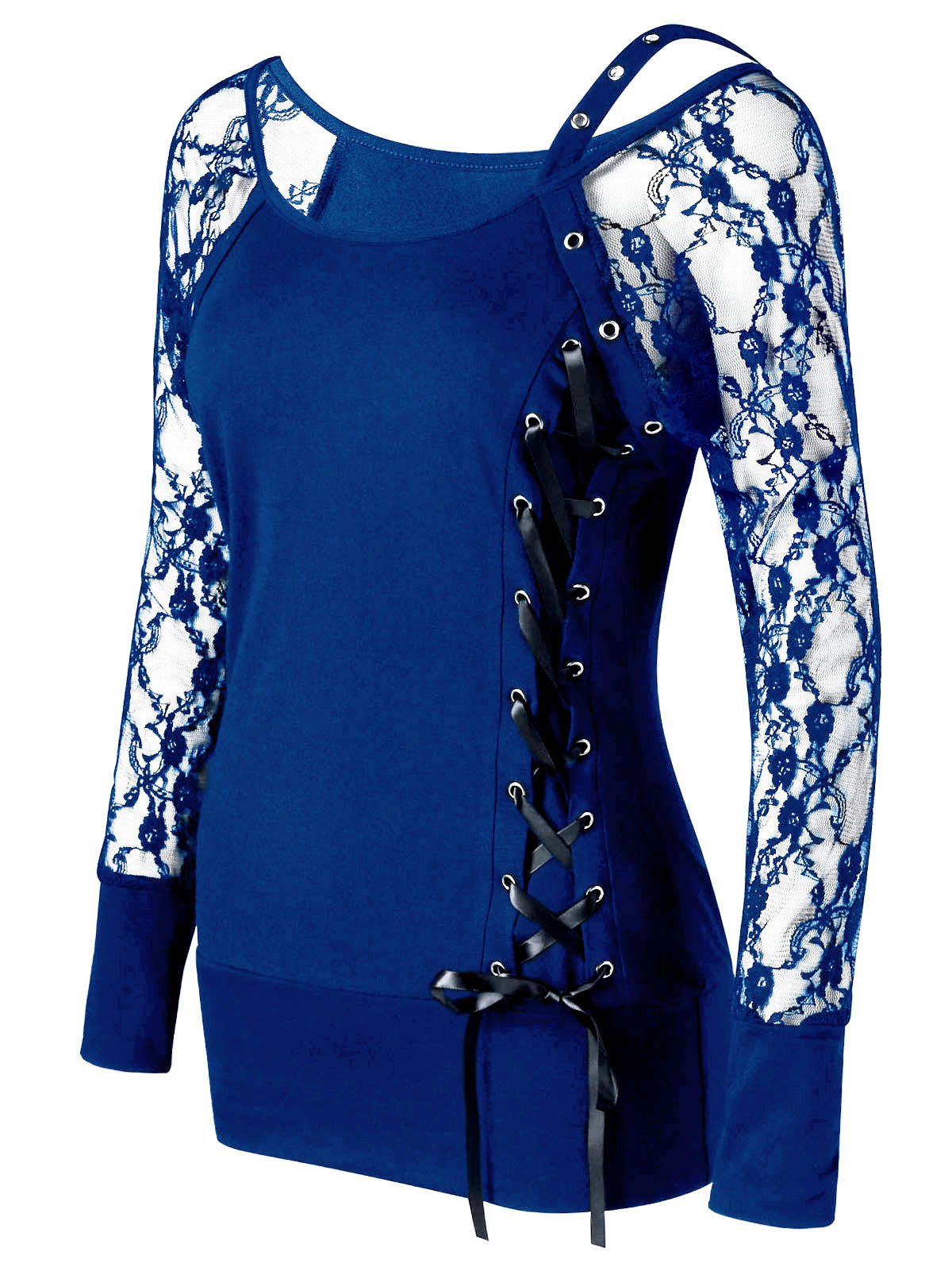 Raglan Sleeve Fitted Lace Up TopWOMEN<br><br>Size: M; Color: BLUE; Material: Polyester,Spandex; Shirt Length: Regular; Sleeve Length: Full; Collar: Scoop Neck; Style: Fashion; Embellishment: Lace; Pattern Type: Solid; Season: Fall,Spring,Summer; Weight: 0.2400kg; Package Contents: 1 x Top;
