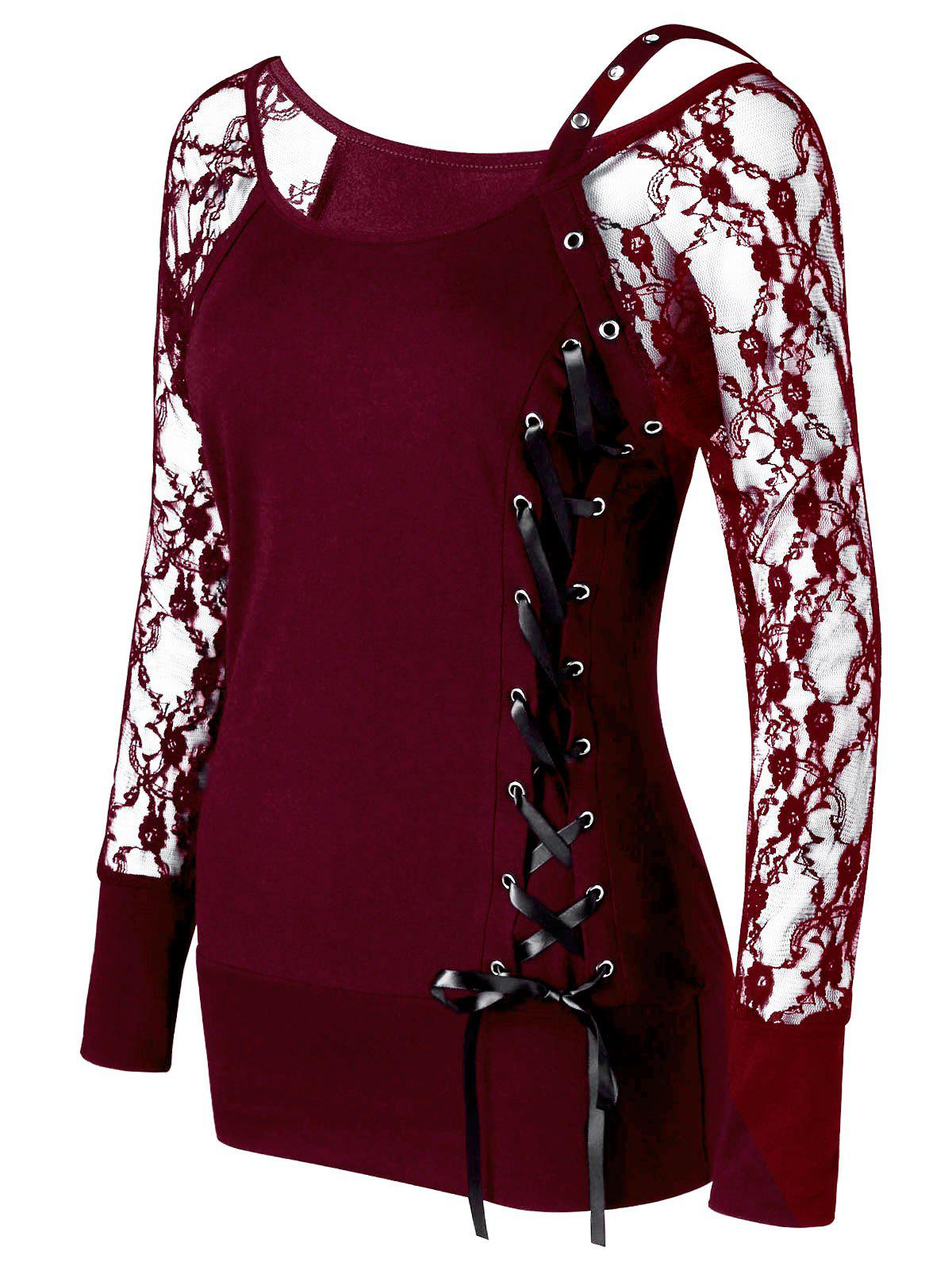 Raglan Sleeve Fitted Lace Up TopWOMEN<br><br>Size: 2XL; Color: WINE RED; Material: Polyester,Spandex; Shirt Length: Regular; Sleeve Length: Full; Collar: Scoop Neck; Style: Fashion; Embellishment: Lace; Pattern Type: Solid; Season: Fall,Spring,Summer; Weight: 0.2400kg; Package Contents: 1 x Top;