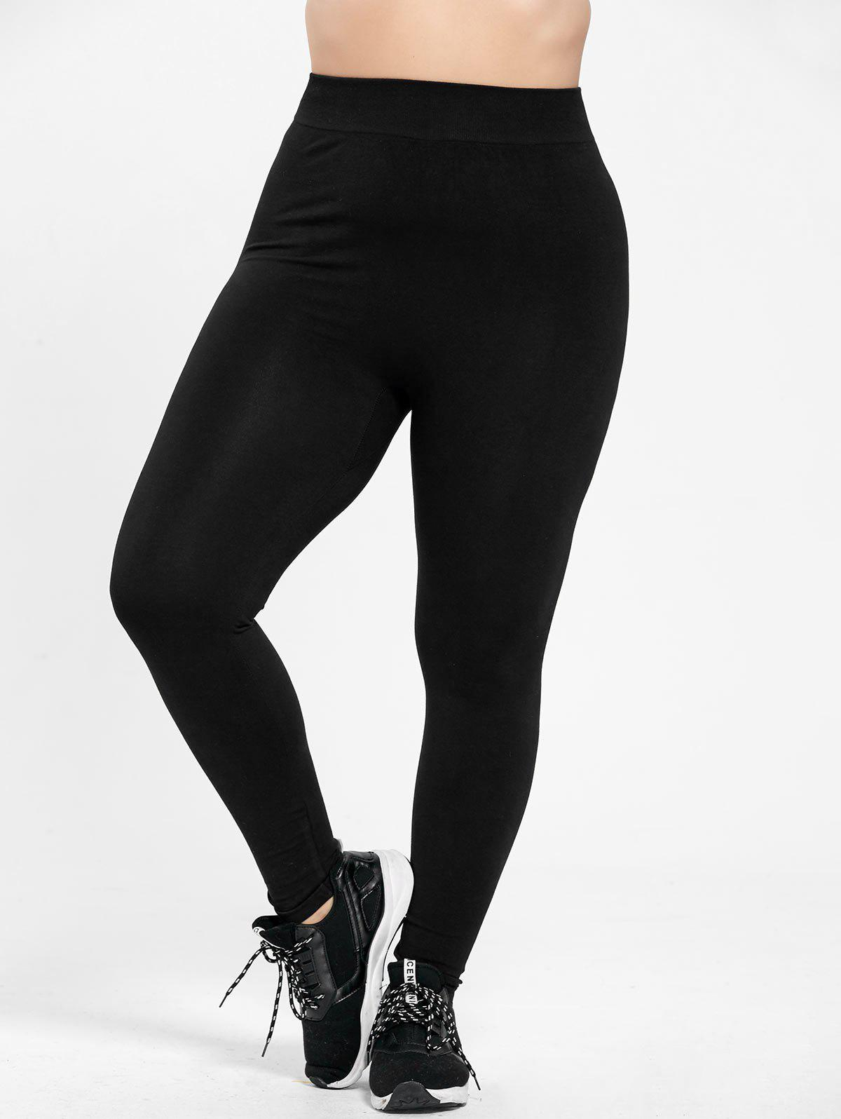 Plus Size High Waist Skinny LeggingsWOMEN<br><br>Size: 2XL; Color: BLACK; Style: Casual; Length: Normal; Material: Cotton,Polyester; Fit Type: Skinny; Waist Type: High; Closure Type: Elastic Waist; Pattern Type: Solid; Pant Style: Pencil Pants; Weight: 0.2900kg; Package Contents: 1 x Leggings;