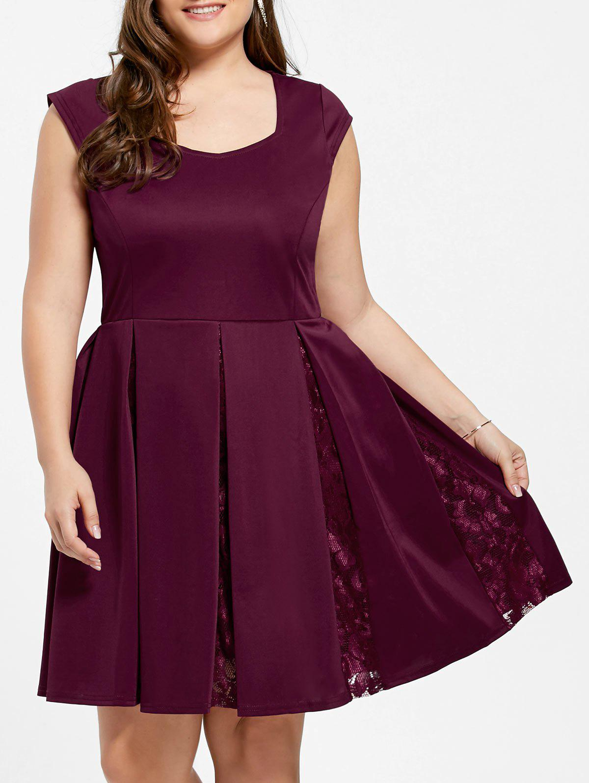 Flare Lace Trim Plus Size Skater Dress