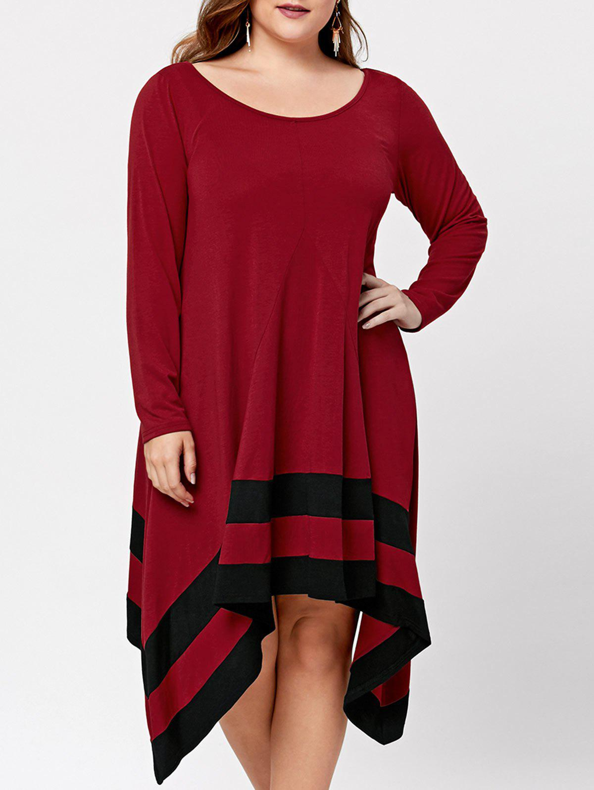 Plus Size Two Tone Asymmetric Long Sleeve DressWOMEN<br><br>Size: 2XL; Color: BLACK&amp;RED; Style: Casual; Material: Cotton,Polyester; Silhouette: Asymmetrical; Dresses Length: Mid-Calf; Neckline: Scoop Neck; Sleeve Length: Long Sleeves; Pattern Type: Others; With Belt: No; Season: Fall,Spring; Weight: 0.4500kg; Package Contents: 1 x Dress;