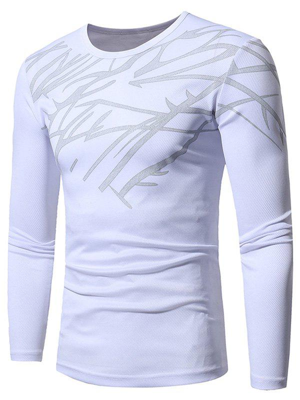1067b39063270 2018 Printed Stretchy Openwork Long Sleeve T-shirt In White 2xl ...