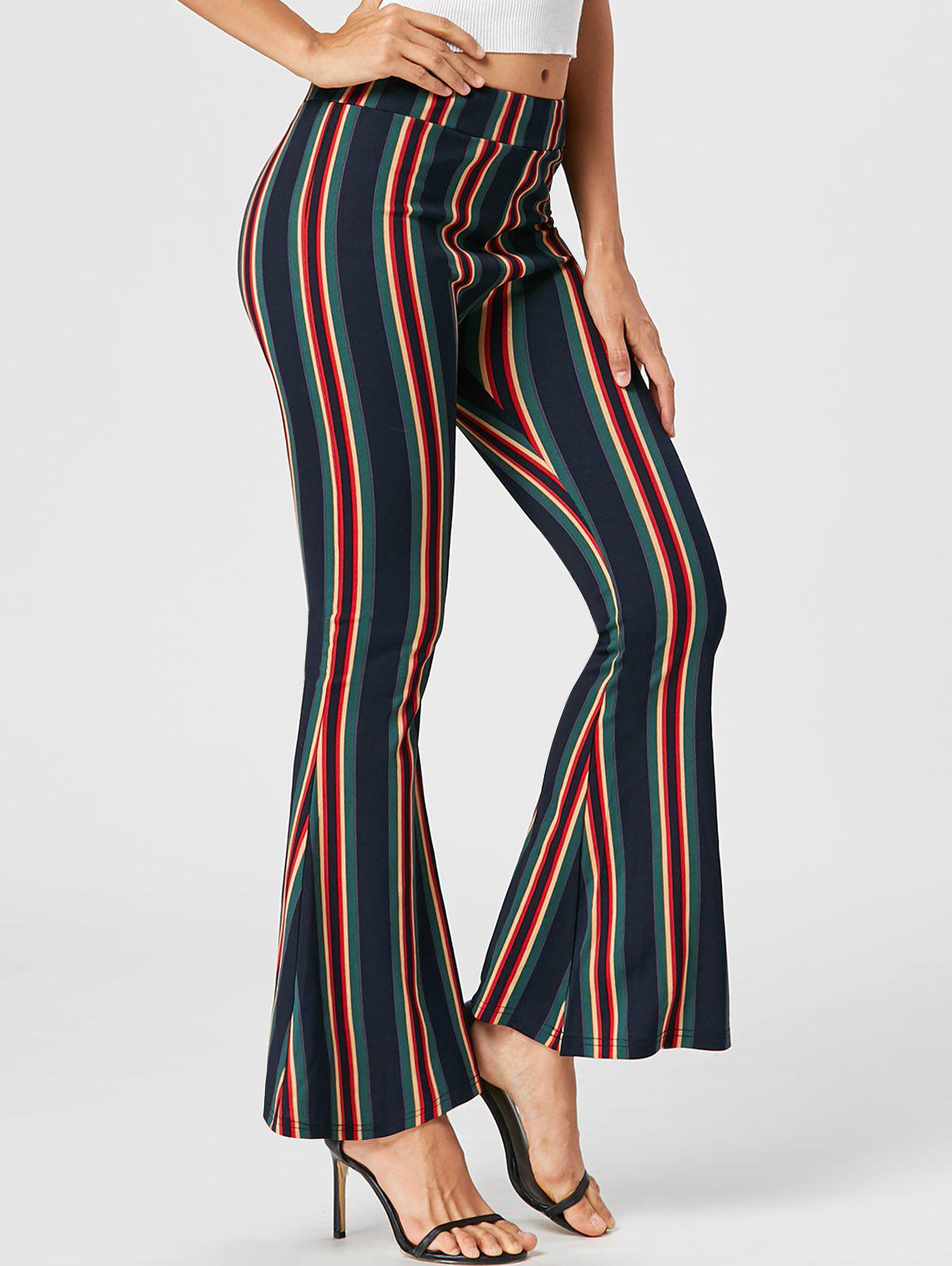 Vertical Striped Flare PantsWOMEN<br><br>Size: M; Color: COLORMIX; Style: Fashion; Length: Normal; Material: Polyester,Spandex; Fit Type: Regular; Waist Type: Mid; Closure Type: Elastic Waist; Pattern Type: Striped; Pant Style: Flare Pants; Weight: 0.3700kg; Package Contents: 1 x Pants;
