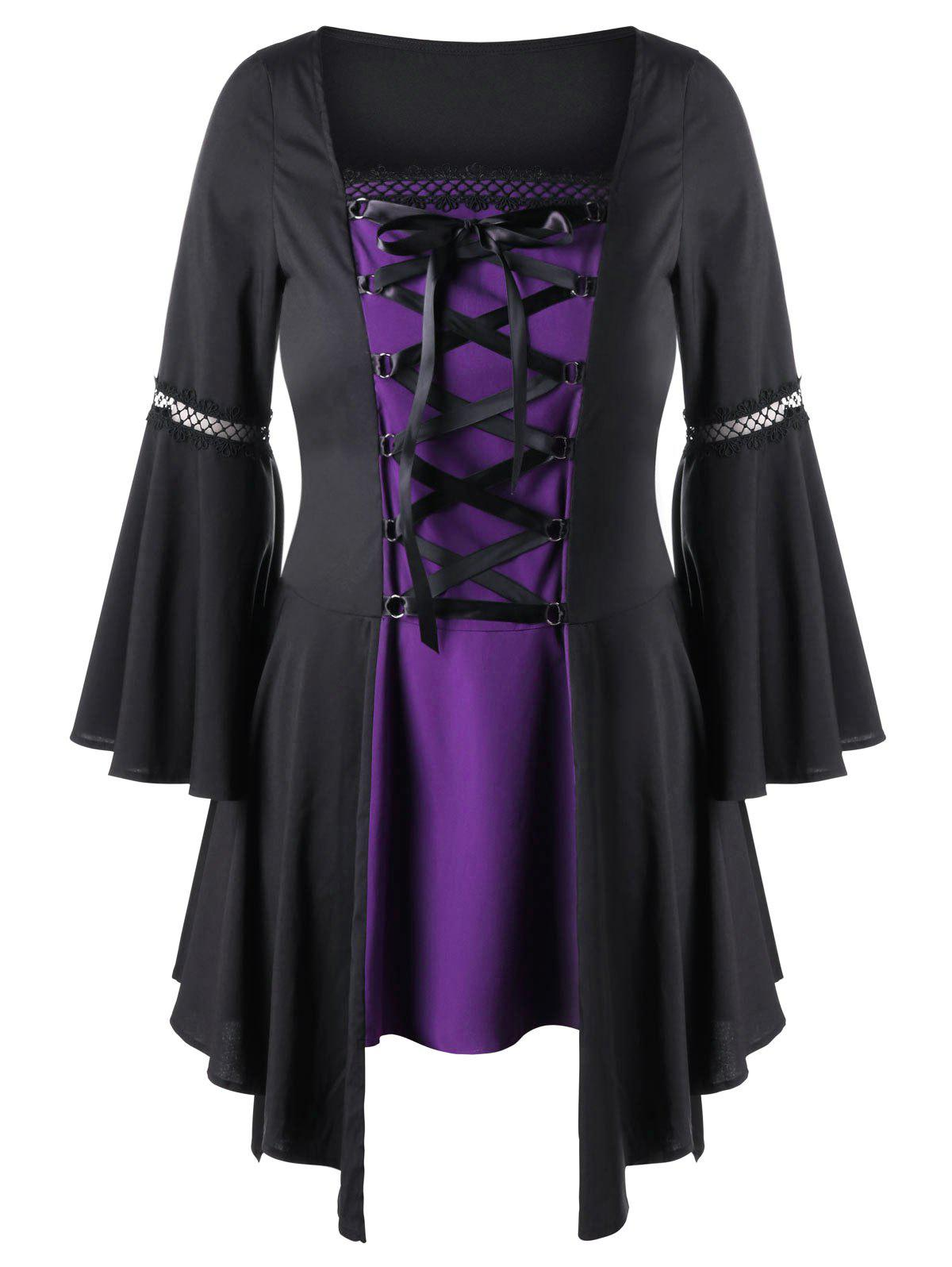Plus Size Lace Up Handkerchief Hem TopWOMEN<br><br>Size: 4XL; Color: BLACK AND PURPLE; Material: Polyester; Shirt Length: Long; Sleeve Length: Full; Collar: Square Neck; Style: Gothic; Season: Fall,Spring; Pattern Type: Solid; Weight: 0.3500kg; Package Contents: 1 x Top;