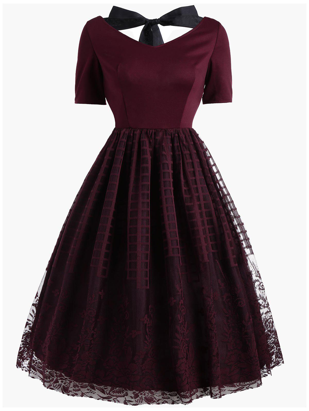 Vintage Bowknot Floral Plaid Lace DressWOMEN<br><br>Size: L; Color: WINE RED; Style: Vintage; Material: Cotton,Polyester; Silhouette: A-Line; Dresses Length: Mini; Neckline: Round Collar; Sleeve Length: Short Sleeves; Embellishment: Lace; Pattern Type: Solid; With Belt: No; Season: Fall; Weight: 0.4500kg; Package Contents: 1 x Dress;