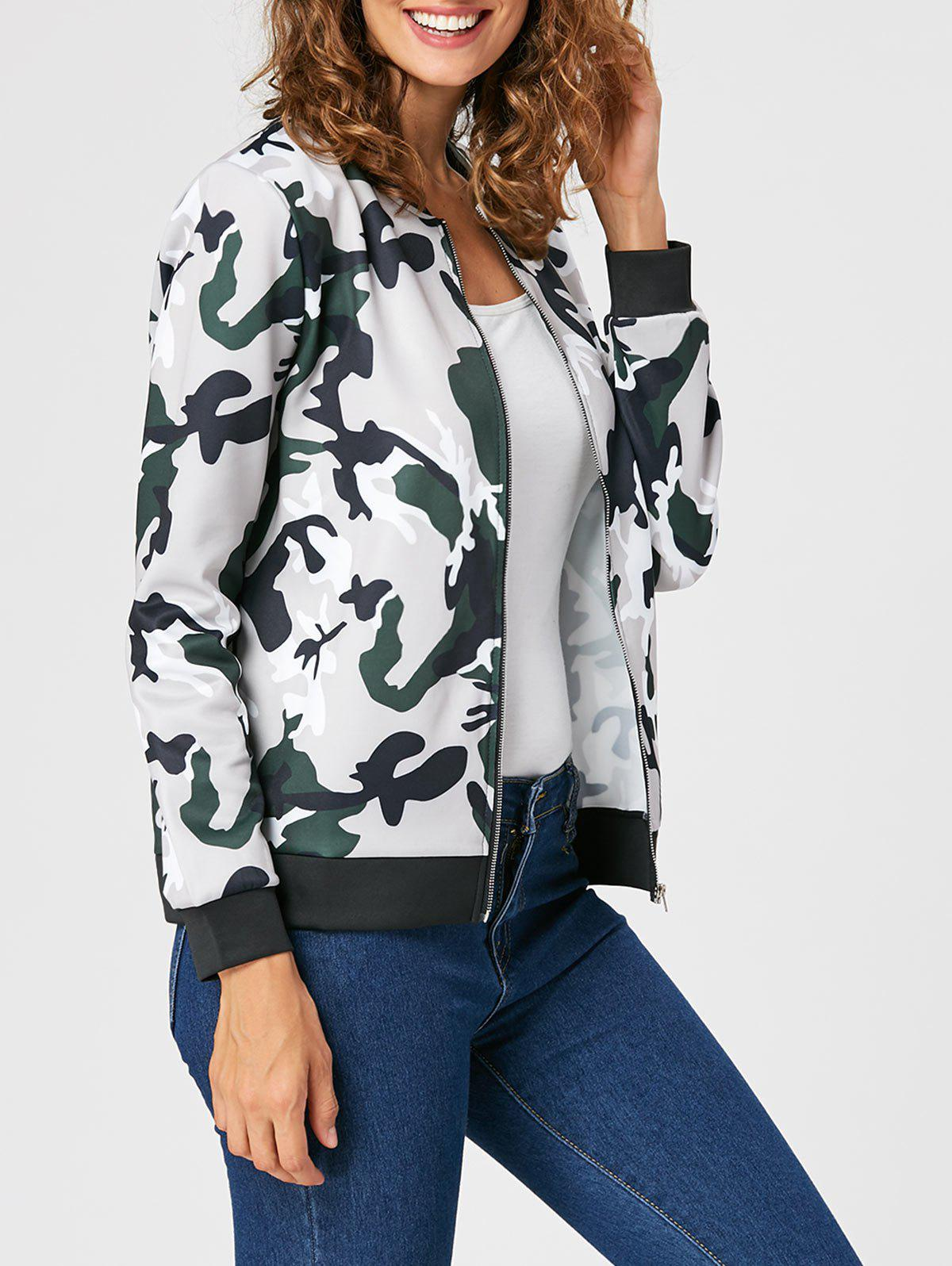 Online Zip Up Camouflage Print Jacket