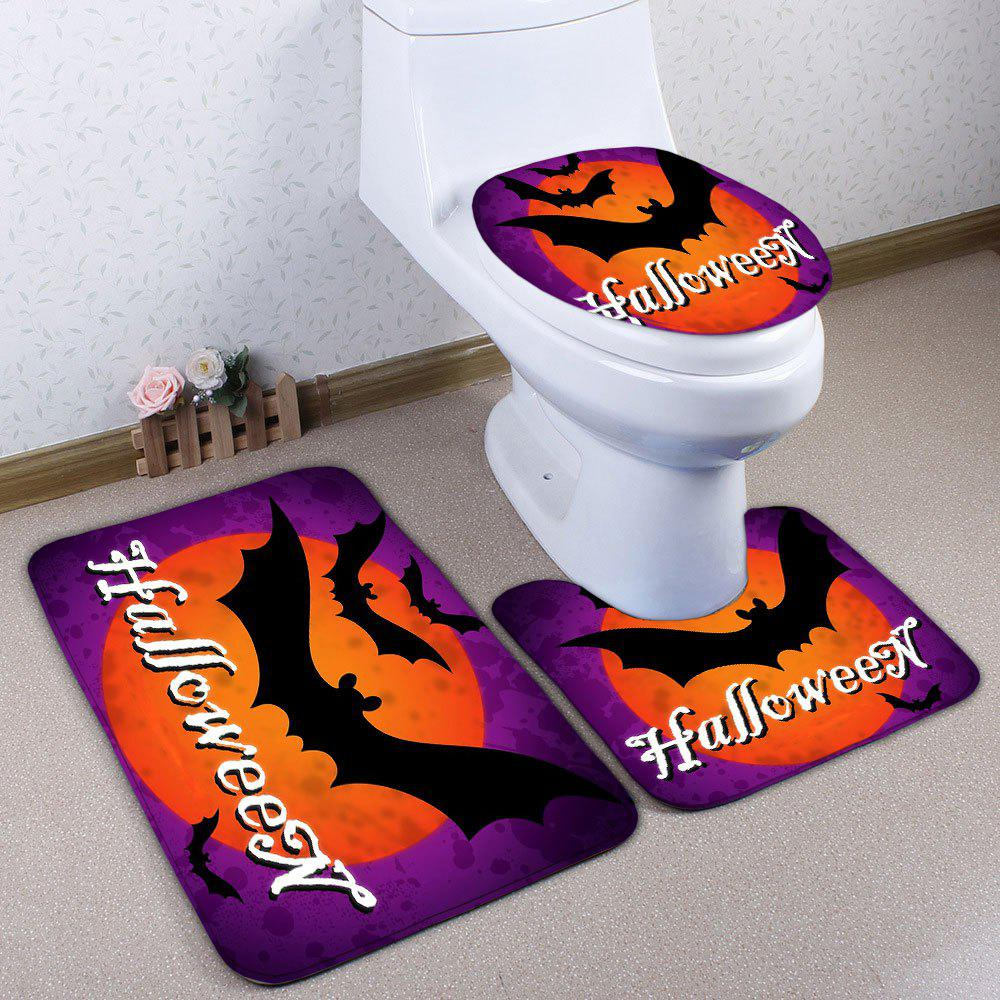 Halloween Bat 3PCS Flannel Bath Toilet Mats SetHOME<br><br>Color: PURPLE; Products Type: Bath Mats; Materials: Flannel; Pattern: Animal; Style: Festival; Size: Pedestal Rug: 40*50CM, Lid Toilet Cover: 38*43CM, Bath Mat: 50*80CM; Package Contents: 1 x Pedestal Rug 1 x Lid Toilet Cover 1 x Bath Mat;