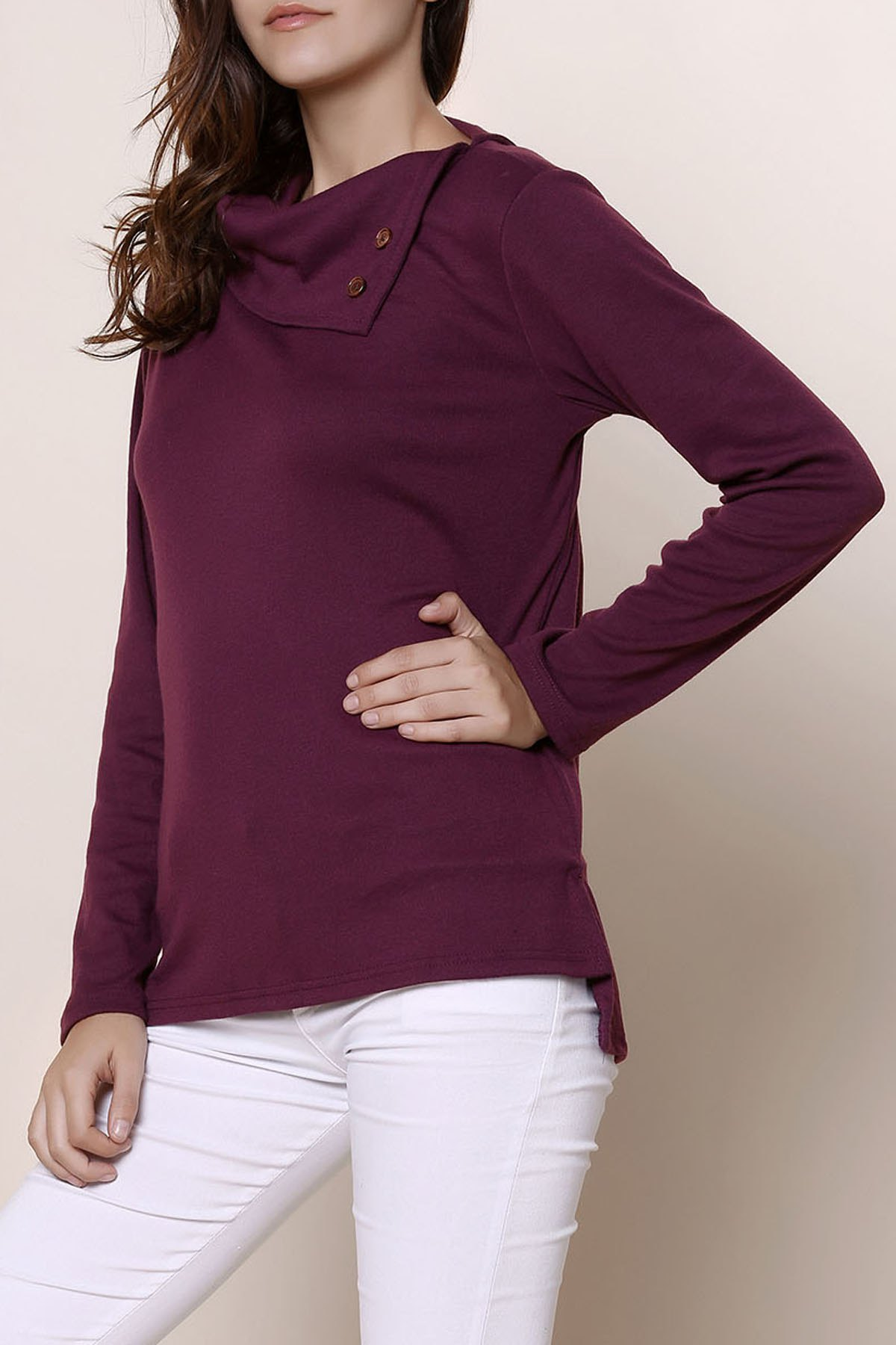 Solid Color Buttoned Cowl Neck Long Sleeve T Shirt 161748907