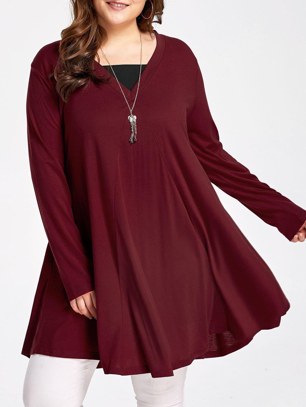 Long Sleeve Plus Size Flowy Swing T-shirtWOMEN<br><br>Size: 4XL; Color: WINE RED; Material: Cotton Blends,Polyester; Shirt Length: Long; Sleeve Length: Full; Collar: Scoop Neck; Style: Fashion; Season: Fall,Spring,Winter; Pattern Type: Others; Weight: 0.3600kg; Package Contents: 1 x Tee;