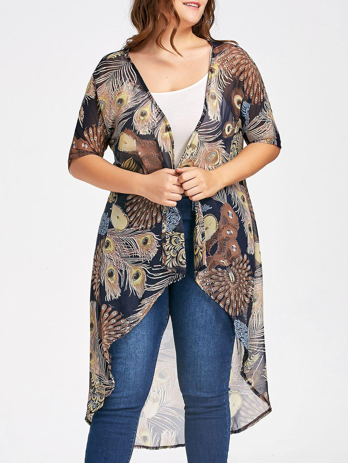 Plus Size Feather Printed  Long Chiffon Kimono TopWOMEN<br><br>Size: 2XL; Color: BROWN; Material: Polyester; Fabric Type: Chiffon; Shirt Length: Long; Sleeve Length: Short; Collar: Collarless; Style: Fashion; Season: Fall,Spring; Pattern Type: Print; Weight: 0.1500kg; Package Contents: 1 x Top;