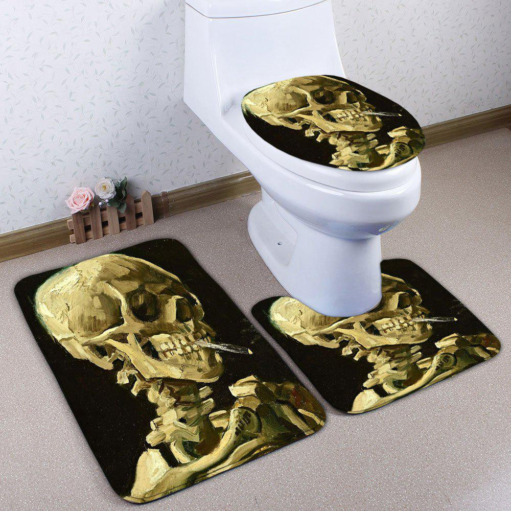Flannel Bathroom 3PCS Skull Print Toilet Mats SetHOME<br><br>Color: BLACK; Products Type: Bath Mats; Materials: Flannel; Pattern: Skull; Style: Festival; Size: Pedestal Rug: 40*50CM, Lid Toilet Cover: 38*43CM, Bath Mat: 50*80CM; Package Contents: 1 x Pedestal Rug 1 x Lid Toilet Cover 1 x Bath Mat;