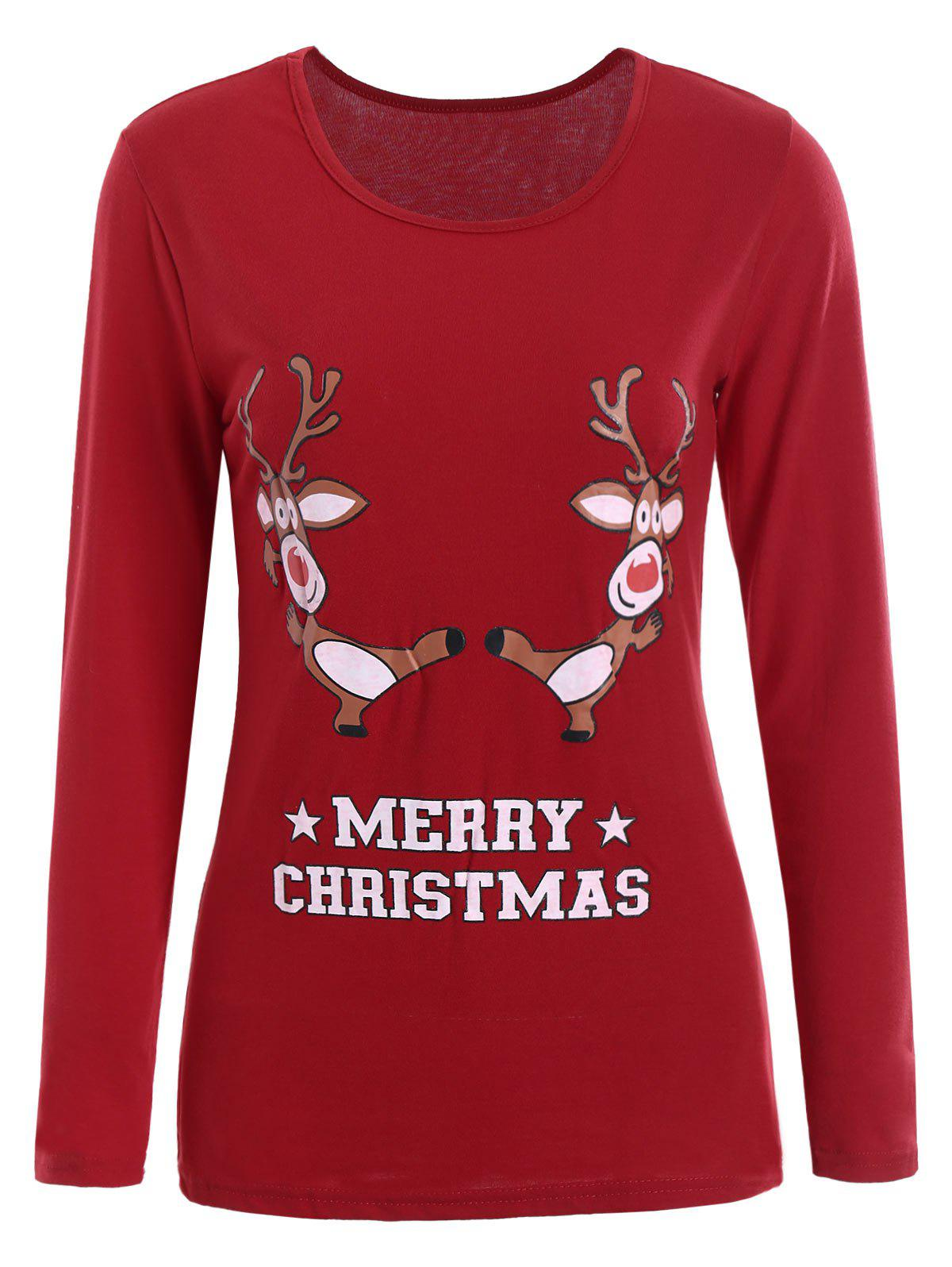 Elk Print Christmas T-shirtWOMEN<br><br>Size: XL; Color: RED; Material: Cotton,Polyester; Shirt Length: Regular; Sleeve Length: Full; Collar: Scoop Neck; Style: Fashion; Pattern Type: Cartoon; Season: Fall,Spring; Weight: 0.2500kg; Package Contents: 1 x T-shirt;