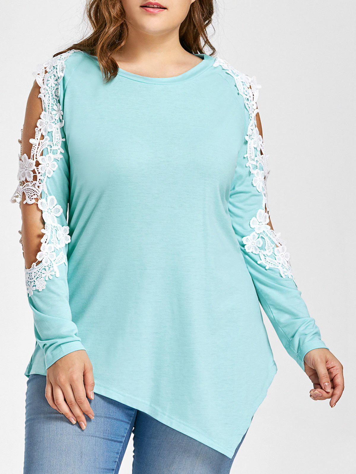 Plus Size Lace Panel Asymmetrical Cold Shoulder TeeWOMEN<br><br>Size: 5XL; Color: BREEZY; Material: Cotton,Polyester; Shirt Length: Long; Sleeve Length: Full; Collar: Round Neck; Style: Fashion; Season: Fall; Embellishment: Lace; Pattern Type: Others; Weight: 0.3100kg; Package Contents: 1 x T-shirt;