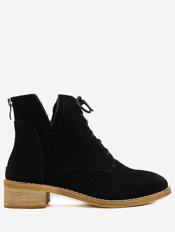 Chic Suede Stitches Boots With Zipper