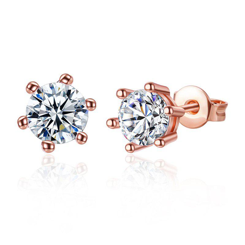 Rhinestone Sparkly Stud Tiny EarringsJEWELRY<br><br>Color: ROSE GOLD; Earring Type: Stud Earrings; Gender: For Women; Material: Rhinestone; Style: Trendy; Shape/Pattern: Round; Length: 0.7CM; Weight: 0.0200kg; Package Contents: 1 x Earring (Pair);