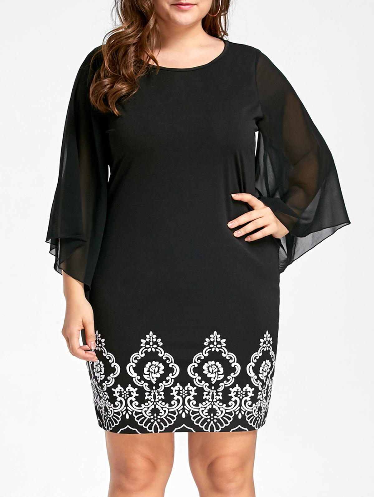 Plus Size Flare Sleeve Sheath DressWOMEN<br><br>Size: 3XL; Color: BLACK; Style: Brief; Material: Polyester,Spandex; Silhouette: Sheath; Dresses Length: Knee-Length; Neckline: Round Collar; Sleeve Type: Flare Sleeve; Sleeve Length: 3/4 Length Sleeves; Pattern Type: Print; With Belt: No; Season: Fall,Spring,Summer; Weight: 0.3300kg; Package Contents: 1 x Dress;