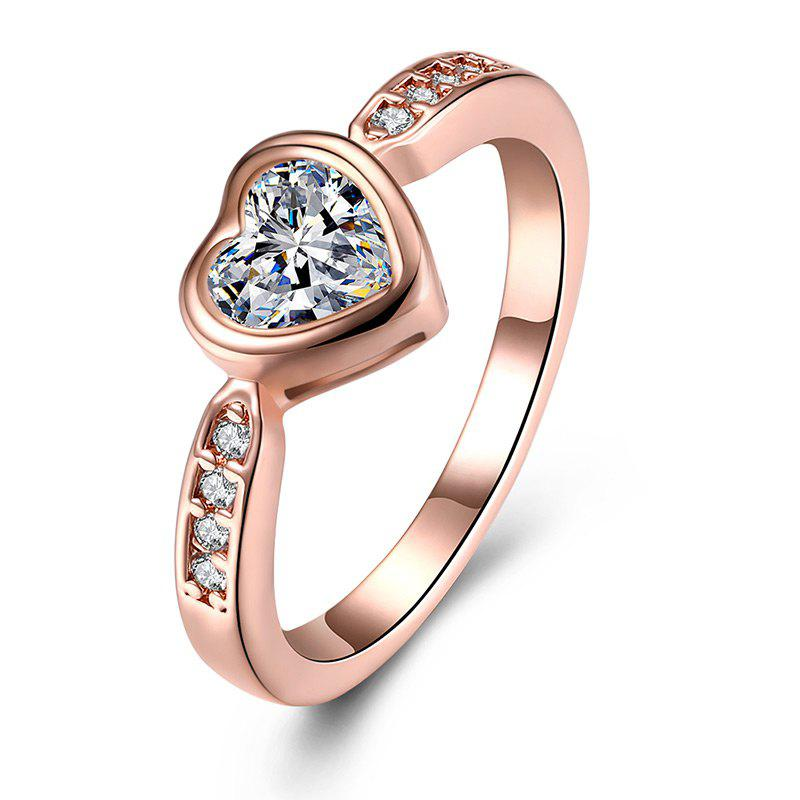 Rhinestone Heart Finger RingJEWELRY<br><br>Size: 7; Color: ROSE GOLD; Gender: For Women; Material: Rhinestone; Metal Type: Alloy; Style: Noble and Elegant; Shape/Pattern: Heart; Weight: 0.0300kg; Package Contents: 1 x Ring;