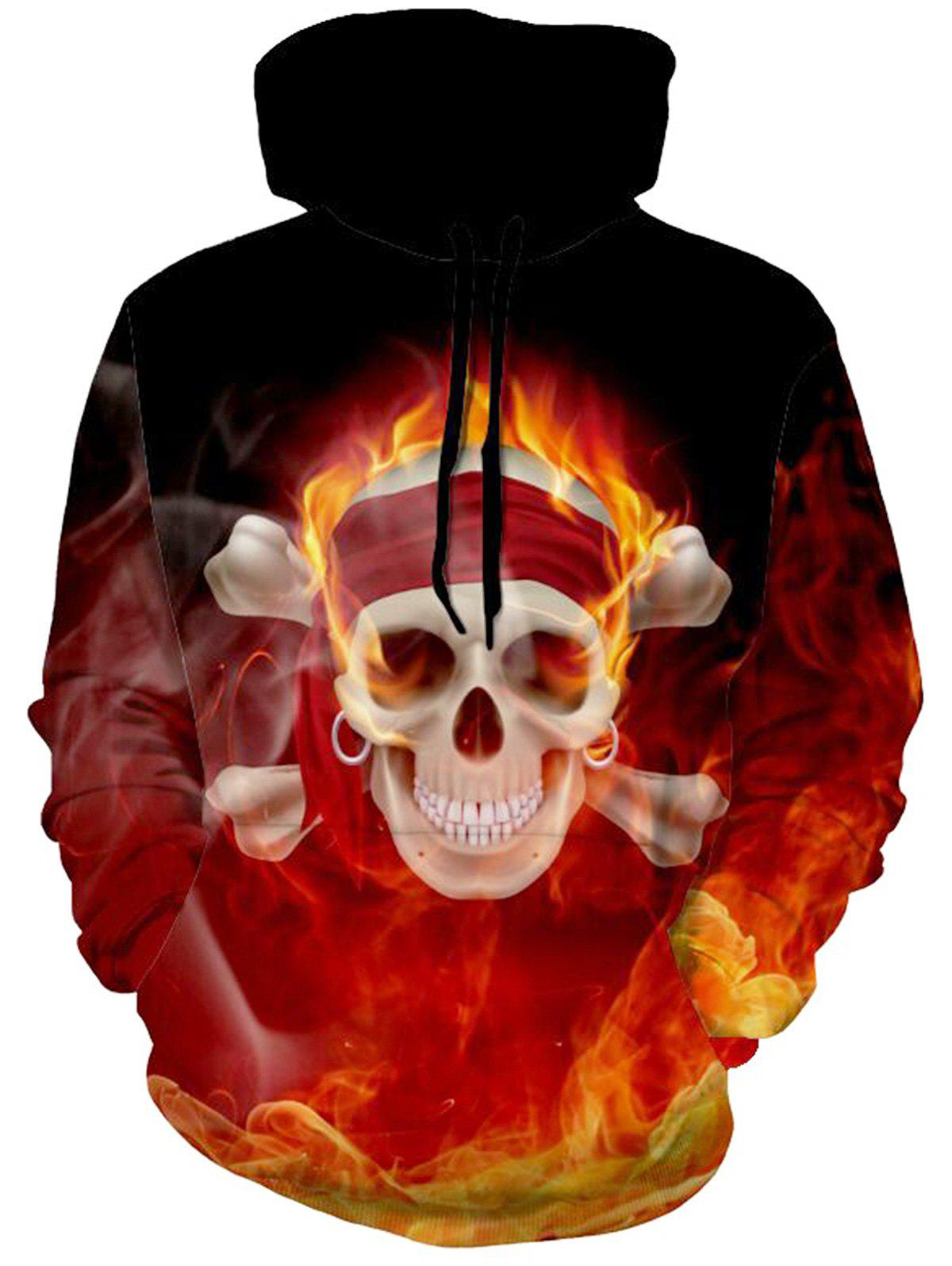Flame Skull Pullover Halloween HoodieMEN<br><br>Size: XL; Color: COLORMIX; Material: Polyester,Spandex; Shirt Length: Regular; Sleeve Length: Full; Style: Fashion; Weight: 0.5700kg; Package Contents: 1 x Hoodie;