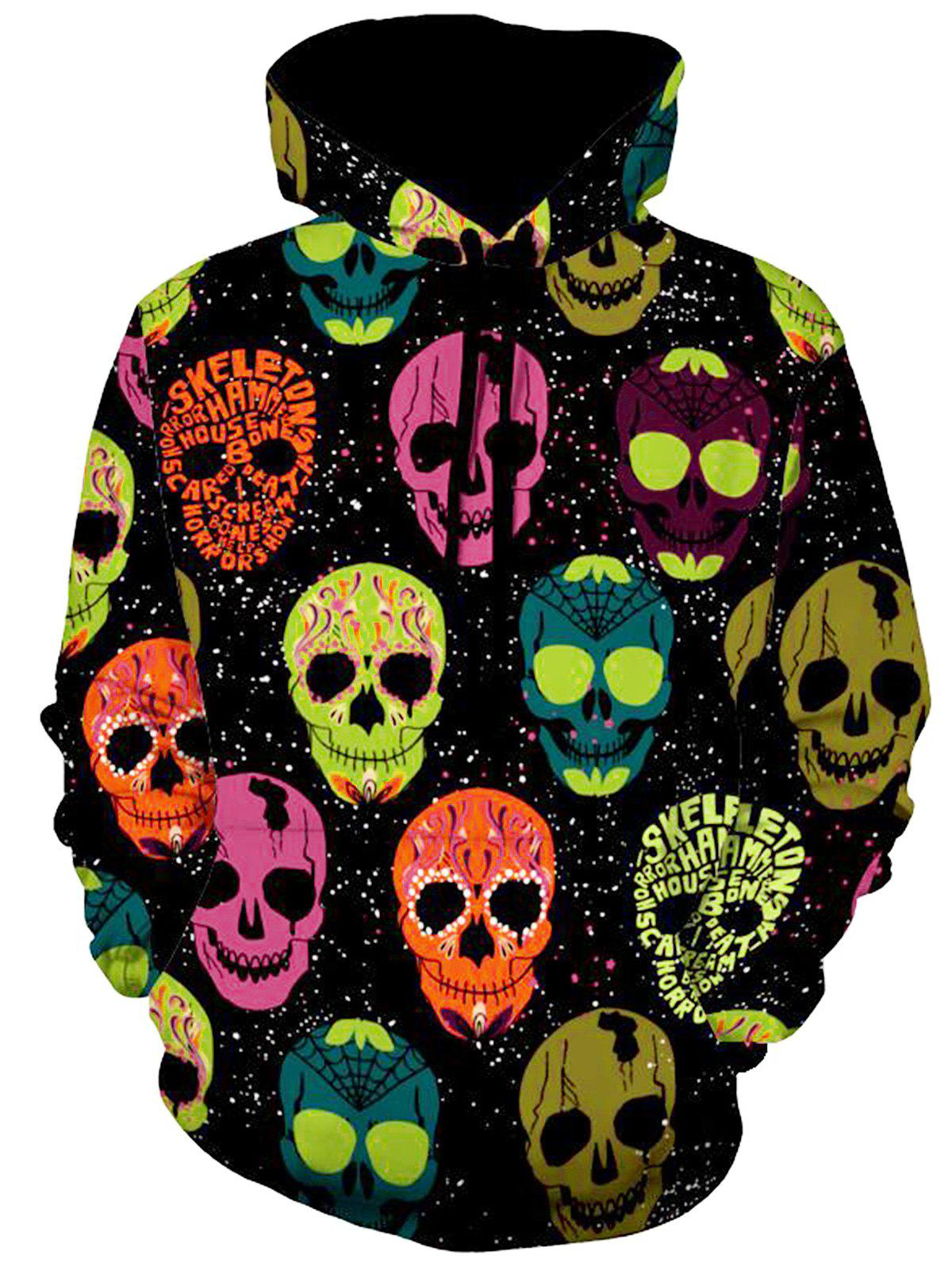 Allover Skulls Print Halloween HoodieMEN<br><br>Size: 2XL; Color: COLORMIX; Material: Polyester,Spandex; Shirt Length: Regular; Sleeve Length: Full; Style: Fashion; Weight: 0.5400kg; Package Contents: 1 x Hoodie;
