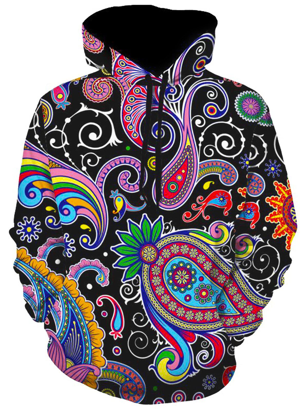Totem Paisley Print Pullover HoodieMEN<br><br>Size: 3XL; Color: COLORMIX; Material: Polyester,Spandex; Shirt Length: Regular; Sleeve Length: Full; Style: Fashion; Weight: 0.5300kg; Package Contents: 1 x Hoodie;